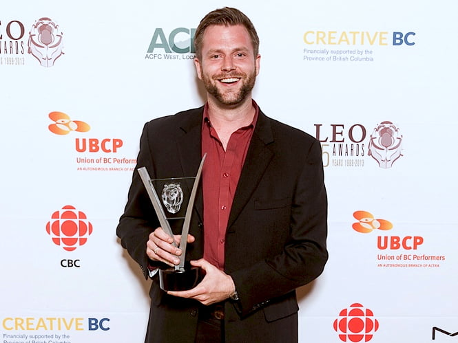 Adam Lolacher wins a 2013 Leo award for his performance in 'Plating', a short film by Jon Thomas and Andrew Gillingham (Category: Best Performance by a Male in a Short Drama)